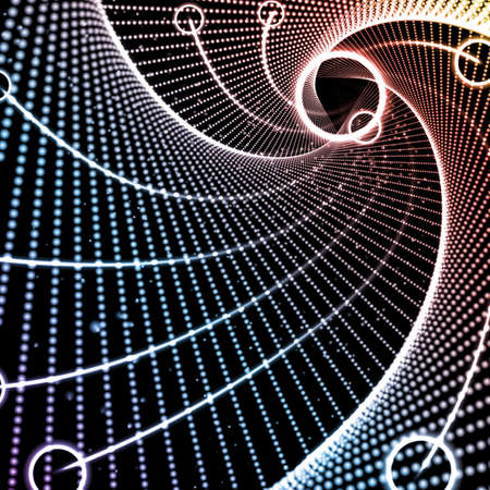 Vector infinite triangle space tunnel of glowing points and springs. Shining flares on abstract cyber and future colorful background. Techno elegant geometric wallpaper.