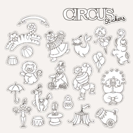 Circus cartoon stickers collection with chapiteau tent and trained wild animals. Vector doodle coloring set Illustration