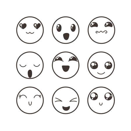 anger kid: Set of cute lovely kawaii emoticon. Doodle cartoon face in childlike manga cartoon style.