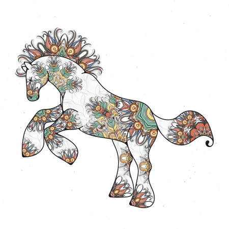 Antistress linear page with horse. Zentangle animal for colouring book, greeting card, mandala decoration element, art therapy. Yoga print Illustration