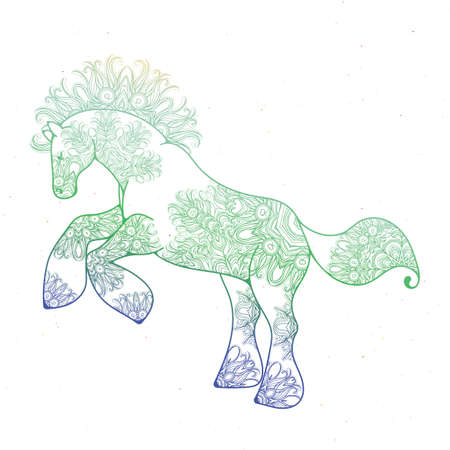 Antistress linear page with horse. Zentangle animal for colouring book, greeting card, mandala decoration element, art therapy. Yoga print Vectores