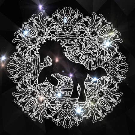 Antistress página lineal con caballo. Zentangle animal para colorear libro, tarjeta de felicitación, mandala elemento de decoración, terapia de arte. Impresión de yoga