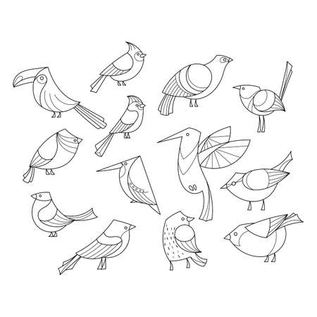 Birds set. Lined vector collextion. Abstract art, logo, icons.