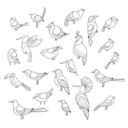 새가 설정됩니다. 줄 지어 벡터 collextion. 추상 미술, 로고, 아이콘입니다.