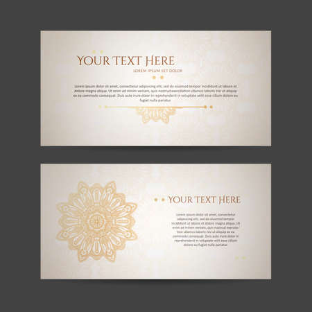 asian business: Set of vector design templates. Business card with floral circle ornament.