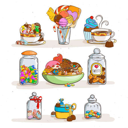 Set of sweets in glass jars of various forms with different candies and cookies. Vector illustration Illustration