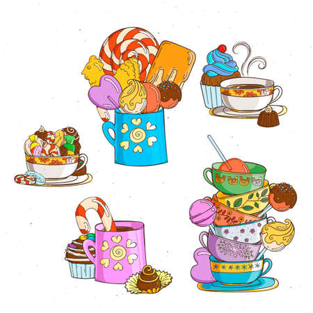 Sweets in cups with different candies and cookies. Vector illustration