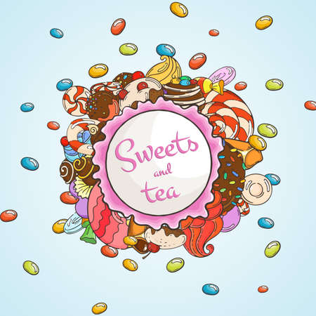 bakery products: Label sweet shop. Swirl candy, chocolate, lollipop, caramel, cream. Illustration