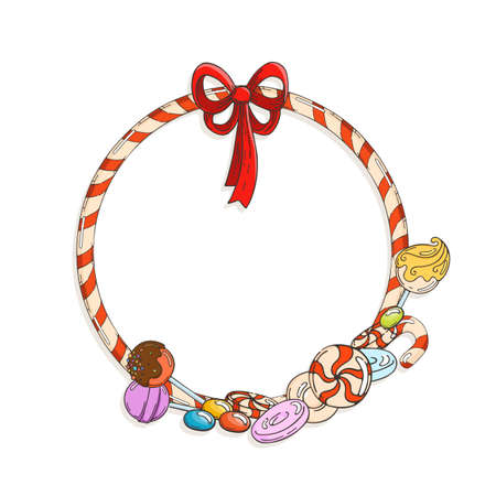 Frame of candy cane with candies and lollipops.