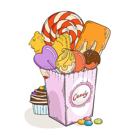 Sweets and candies in paper box. Muffin and chocolate. Vector illustration