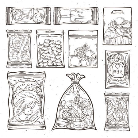 Sweets, candy and cakes in plastic bags and packages. Vector illustration. Illustration