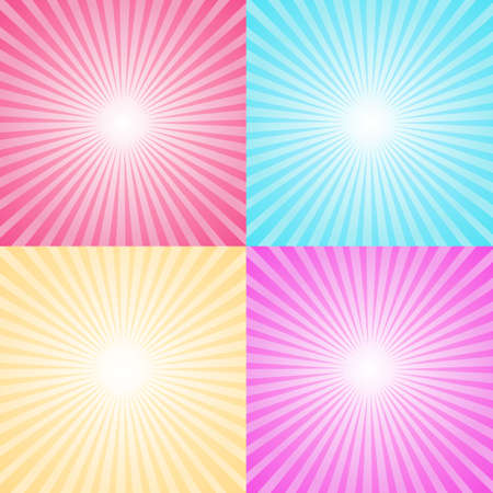 Set of four colorful ray backgrounds. Vector sun and circus rays. Illustration