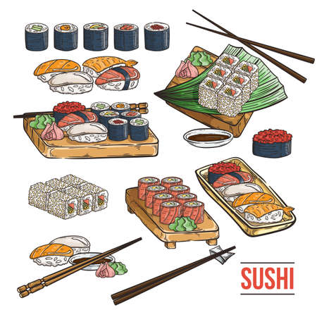 Doodle sushi and rolls on wood. Japanese traditional cuisine dishes set. Vector illustration for asian restaurant menu. Illustration
