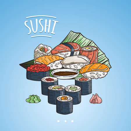 Doodle sushi and rolls on wood. Japanese traditional cuisine dishes illustration. Vector image for asian restaurant menu.