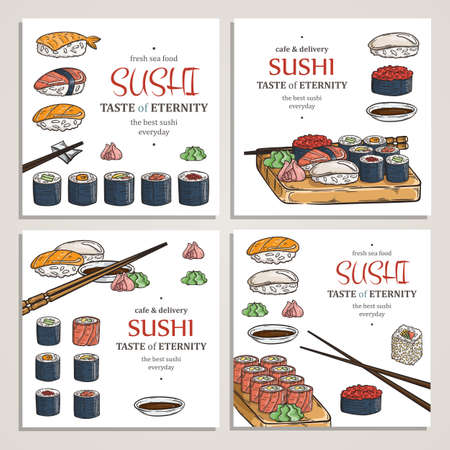Doodle sushi and rolls on wood. Japanese traditional cuisine dishes illustration. Vector cards collection for asian restaurant menu.