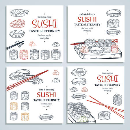 Doodle sushi and rolls on wood. Japanese traditional cuisine dishes illustration cards collection for asian restaurant menu.