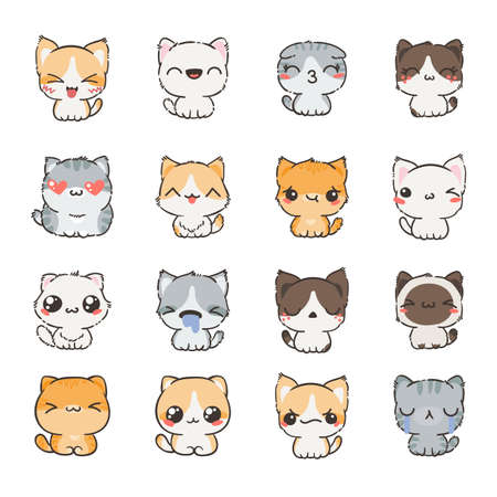 Cute cartoon cats and dogs with different emotions. Sticker collection set of doodle emoji and emoticons
