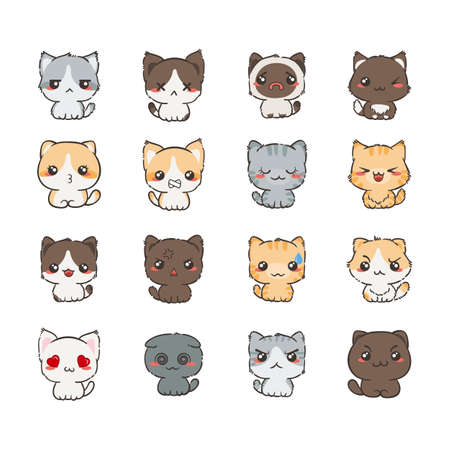 Cute cartoon katten en honden met verschillende emoties. Sticker collectie. Vector set van doodle emoji en emoticons
