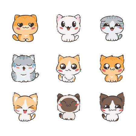 Chats et chats de bande dessinée mignons avec des émotions différentes. Collecte d'autocollants. Ensemble vectoriel de doodle emoji et émoticônes Banque d'images - 84814729