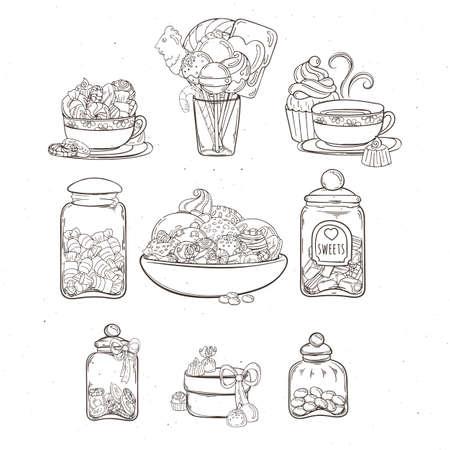 Des bonbons dans des pots en verre de différentes formes avec des bonbons et des cookies différents. Illustration vectorielle