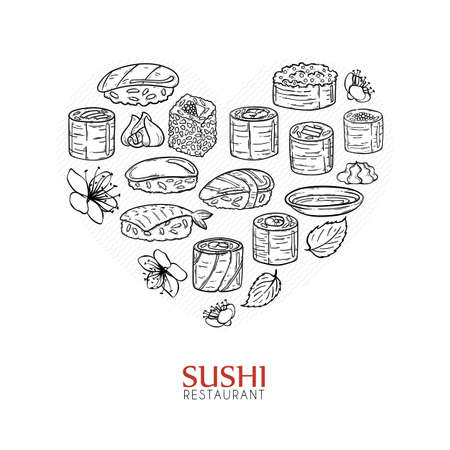 dinner date: Heart shape background with sushi and rolls. Japanese traditional cuisine design elements vector illustration.