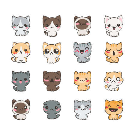 Cute cartoon illustration of cats and dogs with different emotions. Sticker collection. Vector set of doodle emoji and emoticons Stock Illustratie