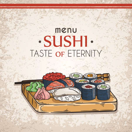 Doodle sushi and rolls on wood. Japanese traditional cuisine dishes illustration. Vector card for asian restaurant menu.