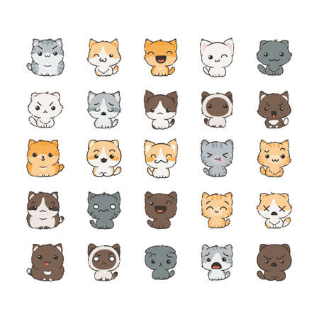 Cute cartoon cats and dogs with different emotions. Sticker collection. Vector set of doodle emoji and emoticons Vectores