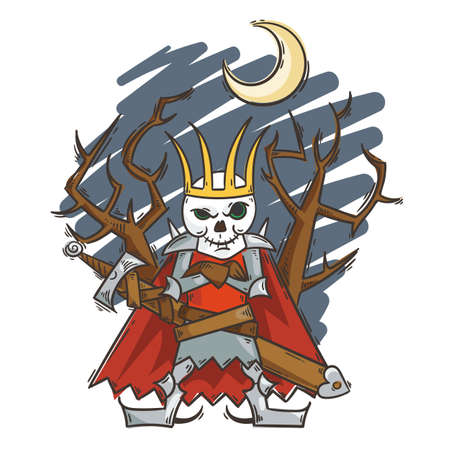 Doodle cartoon Russian Lich King. Koschey with sword and moon. Halloween vector illustration
