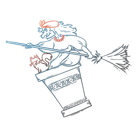 Baba Yaga flying in a mortar with cat and broomstick in the night. Russian granny witch. Halloween vector cartoon illustration.