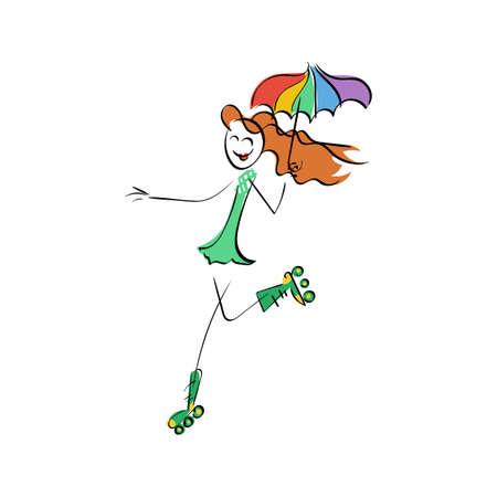 rainbow umbrella: Doodle stickman illustration concept. Roller cyber-girl with rainbow umbrella. Vector image.