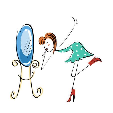 Doodle stickman illustration concept. Makeup near mirror. Vector image.