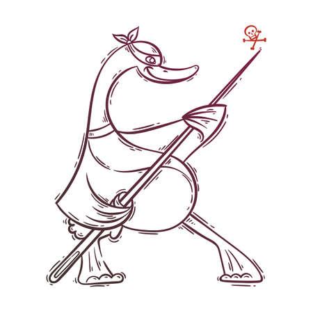 Illustration of ninja duck.