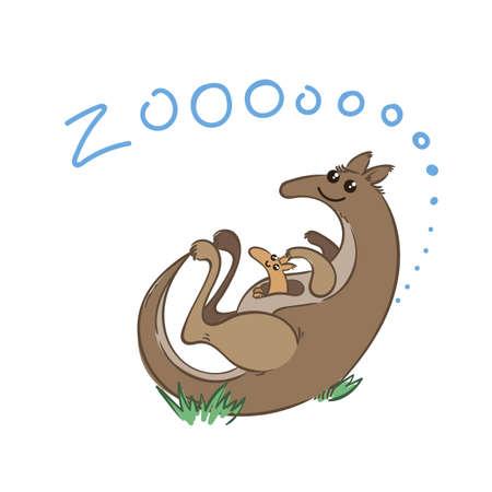 Illustration of doodle cute kangaroo, hand drawn graphic. Vector cartoon