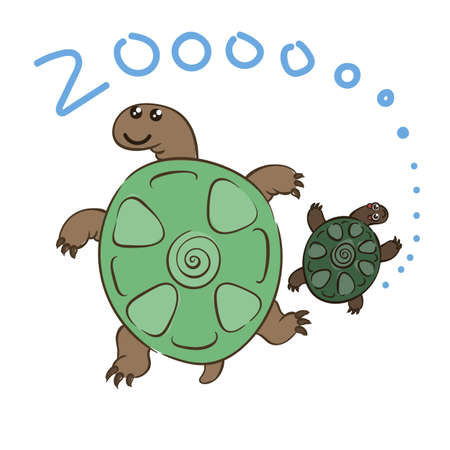Illustration of doodle cute turtles, hand drawn graphic. Vector cartoon