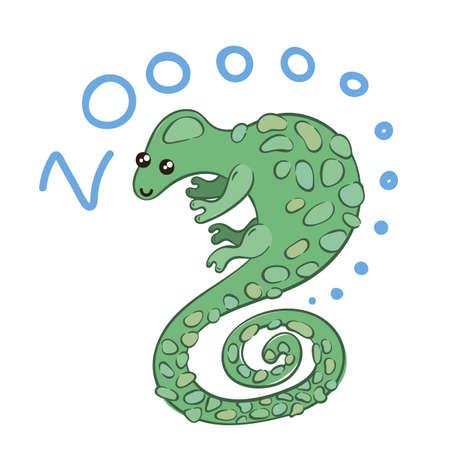 Illustration of doodle cute chameleon, hand drawn graphic. Vector cartoon. Illustration