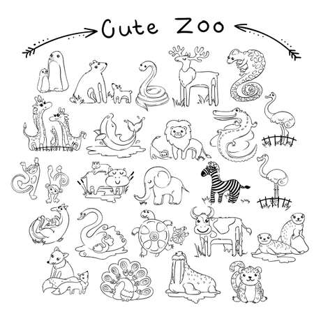 Collection of cute cartoon doodle animals and birds of the world. Lined for coloring pages. Vector set of illustrations