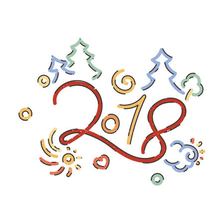 Lettering for Happy New 2018 Year. Holiday vector illustration