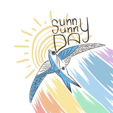 Hand drawn illustration with patterned swift and rainbow. Sunny day. Vector image