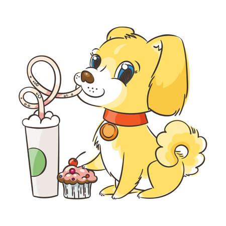 Golden dog drinks coffee or milk shake.