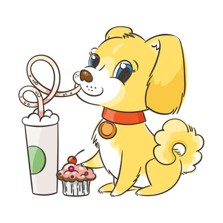 Golden dog drinks coffee or milk shake.