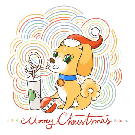 Golden dog drinks coffee or milk shake. Hand drawn vector illustration for New Year t-shirt, poster, postcard on patterned background