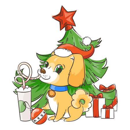 Golden dog drinks coffee or milk shake. Hand drawn vector illustration for New Year t-shirt, poster, postcard Illusztráció