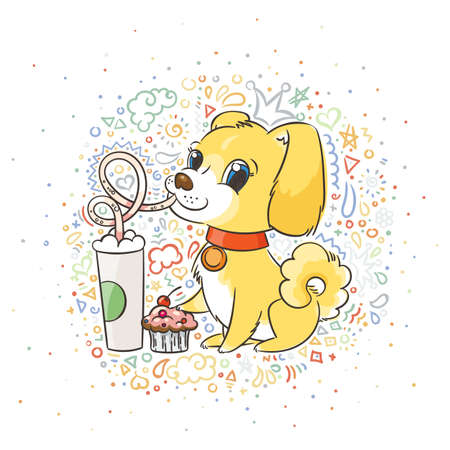 Golden dog drinks coffee or milk shake. Hand drawn vector illustration for New Year t-shirt, poster, postcard patterned background