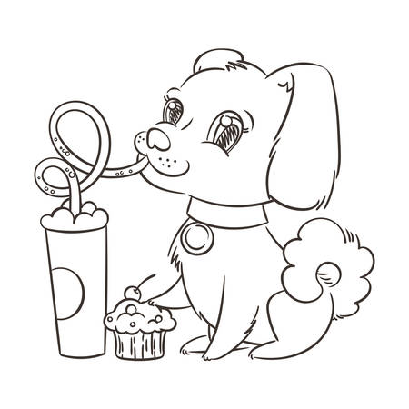 Dog drinking coffee or milk shake. Hand drawn vector illustration for t-shirt, poster, postcard