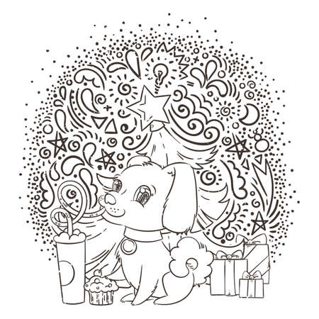 Dog drinking coffee or milk shake. Hand drawn vector illustration for New Year t-shirt, poster, postcard on patterned background