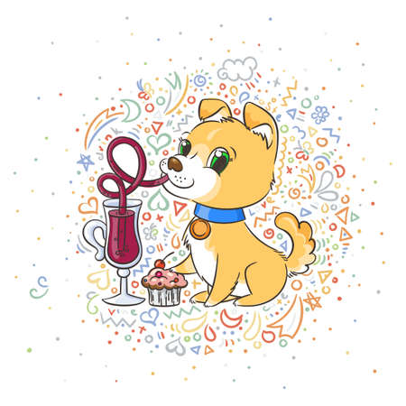 Golden dog with the cup of mulled wine and a cake. New Year symbol of 2018. Vector illustration on patterned background.