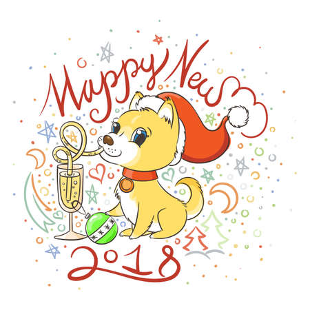 Golden dog with the champagne or lemonade and a cake. New Year symbol of 2018. Vector illustration on patterned background Illustration