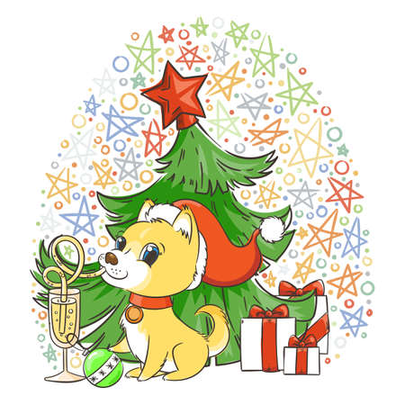Golden dog sipping a champagne or lemonade with a straw while holding a Christmas ball with her paw, with gift and Christmas tree in the star patterned background. New Year symbol of 2018 Vector illustration Illustration