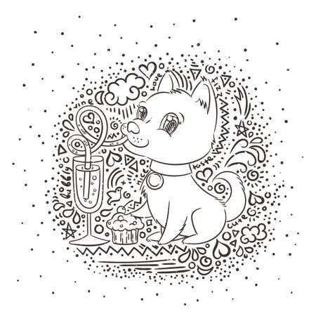 Golden dog with the champagne or lemonade and a cake. New Year symbol of 2018. Vector illustration on patterned background Illusztráció